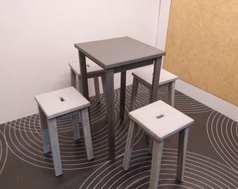 Modern original furniture,  anthracite grey terrace and bar tall table with 4 stools, 1/12 miniature for dollhouses