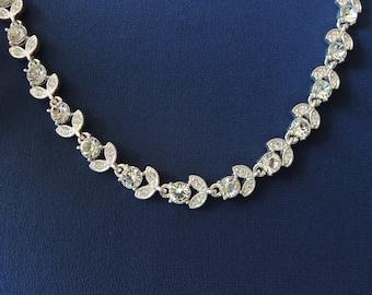 "Rhinestone Garland 15"" Choker Necklace 1960s by Napier"