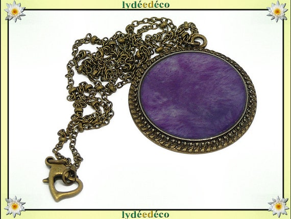 Women necklace retro vintage violet purple resin and brass Locket 25mm heart clasp ball chain
