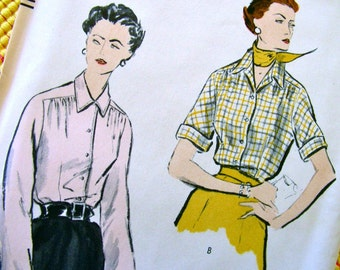 """1950s Vogue  Pattern 7775   -   Misses'  Shirtwaist  Blouse with Gathers below Yoke """"easy to make""""    - Factory Folded  - Bust 36 - Size 18"""