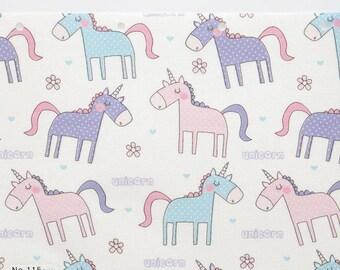 Laminated Cotton Fabric - Unicorn - By the Yard 83841