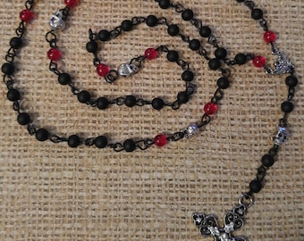 Black and Red  Skull bead Rosary  w Sparkly Cross