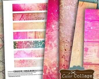 Printable Digital Collage Sheet, Printable Paper, Boho Strips, Junk Journal, Card Making, Printable Strips, Scrapbooking, 1x6 Collage Sheet