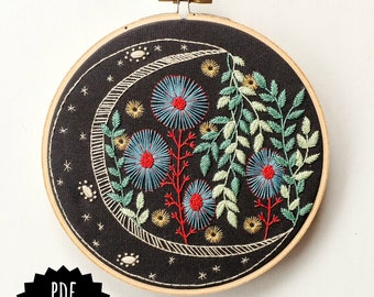 NIGHT GARDEN - pdf embroidery pattern, embroidery hoop art, midnight garden, moon and plants, moon flowers, celestial design, magical moon