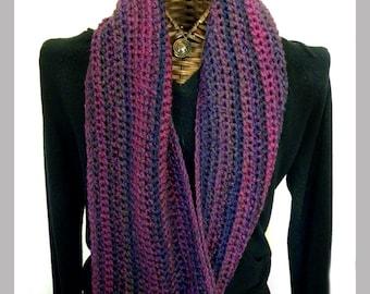Ensemble de foulard et le chapeau, Tuque, foulard Long, accessoires d'hiver, Tweed violet rayures, chapeau ensemble femmes
