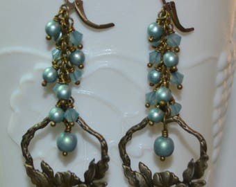 Swarovski Crystals and Pearl Bronze Flower Leverback Earrings