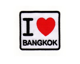 Ae10 I love Bangkok patch Thailand Asia Travel Country Ironing application Patch patches size 6.2 x 5.8 cm