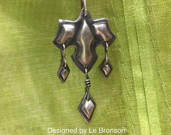 Sterling Silver Fancy Medallion Dangling Pendant