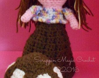 Crochet Ice Cream Waffle Cone Doll ~ handmade
