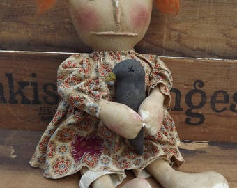 Handmade Rag Doll,Primitive Crow Rag Doll, Primitive Raggedy Doll, Primitive Rag Doll, Gift For Mom