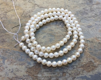 Freshwater Pearl Beads, Small White Pearl Beads, 4mm, 16 inch strand