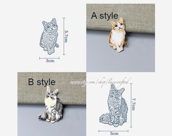 Cute Cat Lace Applique Trim Embroidery patch Iron on Applique Patch For costume design