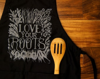 "Apron ""Love Your Roots"" print"