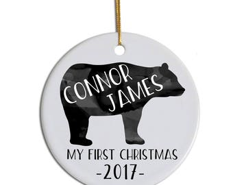 Baby's First Christmas Ornament, First Christmas Ornament, Baby Ornament, Custom Baby Ornament, Baby Bear Ornament, Child's Ornament