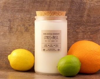 Citrus Basil - Soy Candle - Handmade - 15.5 oz. - Frosted Glass Container - Wood Wick - Citrus + Basil Scented Candle - Cork Lid -