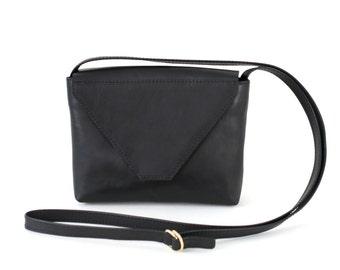 Minimalistic Crossbody Bag Black Leather, small satchel bag, yellow handbag