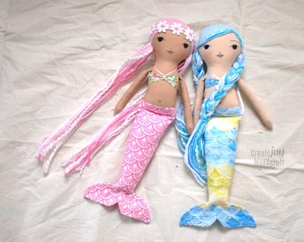 "SAMPLE SALE - 14"" Mermaid Doll - Handmade Cloth Doll - Ready to Ship - Rag doll"
