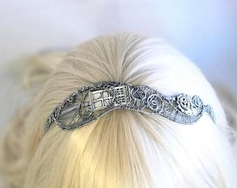 Silver Wire Wrap TARDIS Steampunk Headband