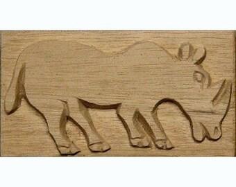 Rhinocerous, African Printing Block Textile Stamp - Oshiwa Carved Wood Printing Stamp, 5.25''x 2.75'', Item 23-2-102