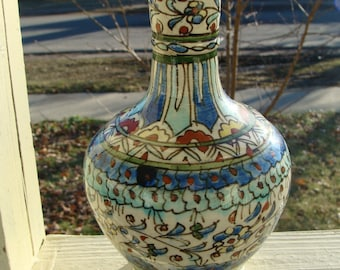 Antique Islamic Turkish Ottoman Kutahya Hand Thrown Turned Ceramic Clay Pottery Hand Painted Pitcher Bottle