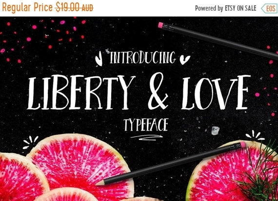 70% OFF Sale Digital Font Liberty and Love - Digital Typeface - Hand drawn all caps font - Instant Download