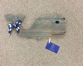 Reclaimed Wood Whale Wall Decor -- Small