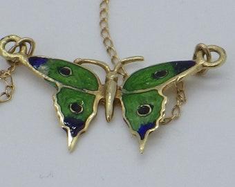 14K Nouveau Enamel Bippart & Co Butterfly Necklace
