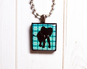 Elephant jewelry, Scrabble pendant, recycled jewelry, elephant pendant, elephant gift, gift for her, nature jewelry, resin necklace