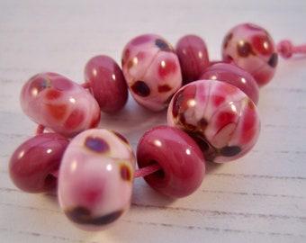Pink Parasols Lampwork Glass Beads, SRA, UK Seller, UK Lampwork