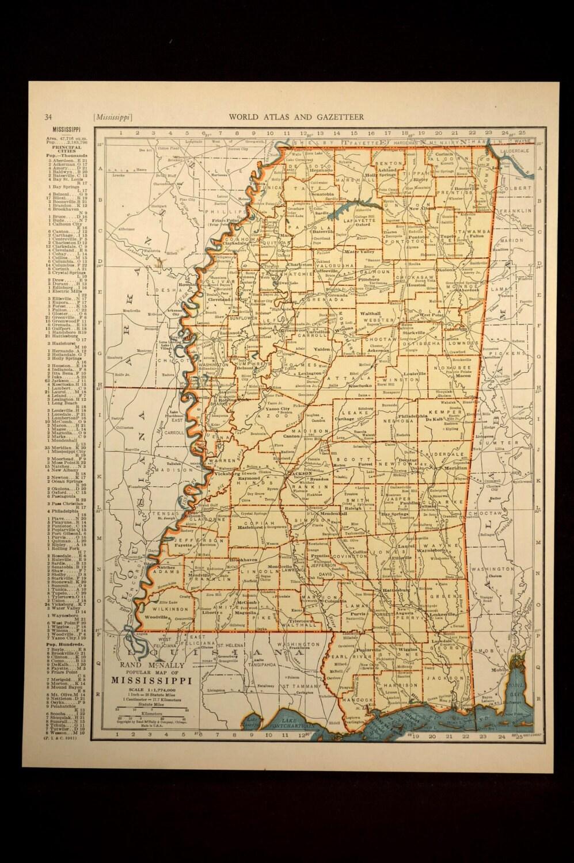 Mississippi map mississippi vintage state 1930s original sale details gumiabroncs Images