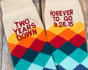 Anniversary Socks - cotton - second anniversary gift - mens dress socks - husband gift - two year anniversary gift - embroidered socks