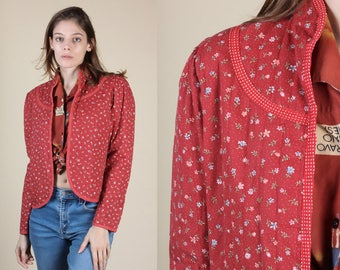 70s Quilted Calico Floral Jacket - Small | Vintage Boho You Babes Puff Sleeve Open Blazer