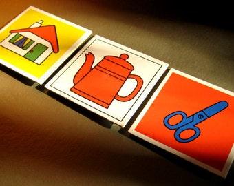 "Vintage Dick Bruna memory card fridge magnets, ""get up - make coffee - create"" set of three, FREE SHIPPING"