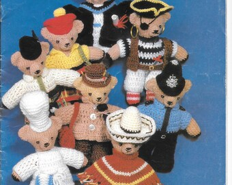 Old original knitting and crochet pattern for teddy bears and clothes - 4 ply wool