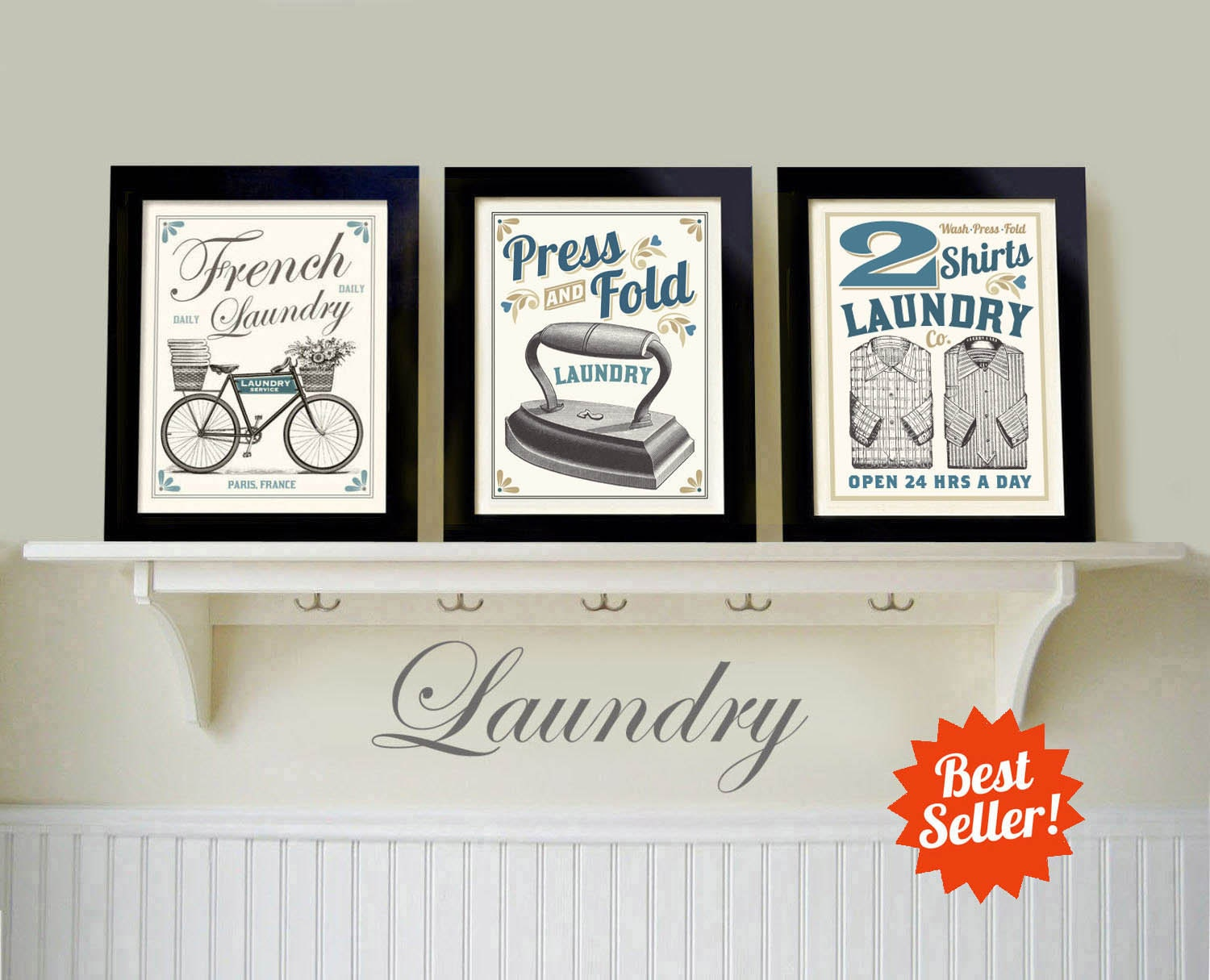Laundry Wall Decor Laundry Room Decor French Laundry Artwork Vintage Style