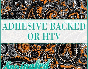 Paisley Pattern #1 in Black & Orange Adhesive Vinyl or HTV Heat Transfer Vinyl for Shirts Crafts and More!