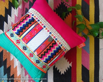 Aztec Throw Pillow - Mexican Zigzag Geometric Layered Cushion Cover 16x16 , 18x18 , 20x20