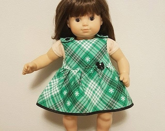 Bitty Baby Bitty Twin Doll Clothes - Green Plaid Dress