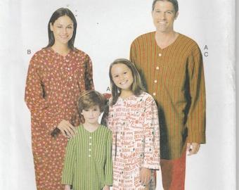 Nightshirt Pattern Pajama Patterns Adult Size Small - Medium - Large - Extra-Large uncut Butterick 5433