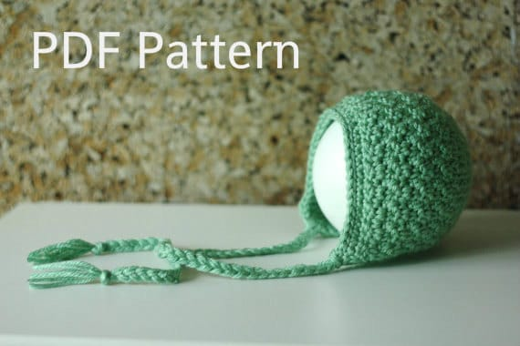 PDF Crochet Pattern Bonnet Hat Pattern Newborn