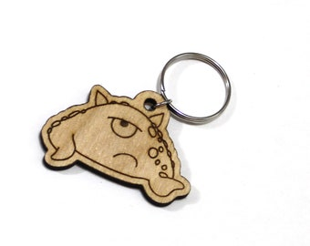 Vinson the Timid Monster - Unpainted Wood Laser-Cut Keychain -