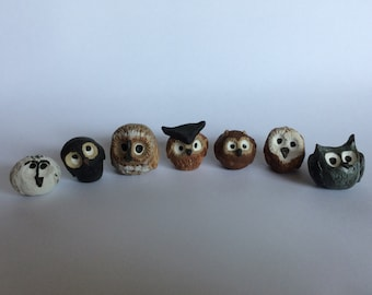 A Parliament of Very Wee Ceramic Owls Perfect for Teacup Gardens or Terrarium