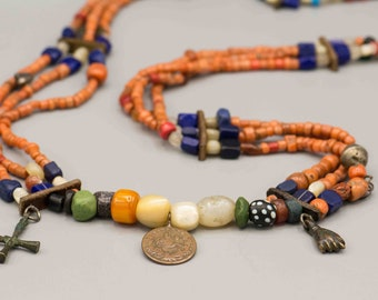 Vintage Ethiopian Coral Lapis and Trade Bead Necklace Fetish Necklace SKU-TB-437
