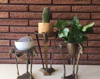 Vintage Brass Animal Head Display Planters