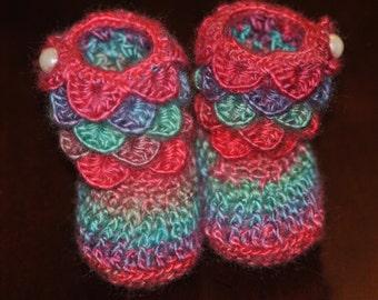Crochet Rainbow Baby Booties,  Pink Purple Blue Cream Colored Booties Little Girl 0-6 Months, Crocodile Stitch Booties,  OOAK