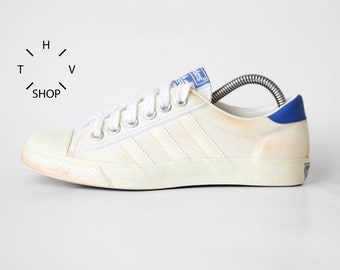Vintage Adidas Originals Tennis canvas sneakers / Nizza Cannes low trainers / Retro Oldschool Athletic Shoes Kicks / 80s made in Philippines