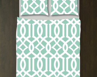 Custom Imperial Trellis Duvet Bedding Set-Grayed Jade and White-Customize Colors You Want-Twin XL-Full/Queen-King-Preppy Home Decor-Size