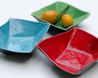 Twisty Ceramic Serving Bowl, Twisted Square, Bright Colors