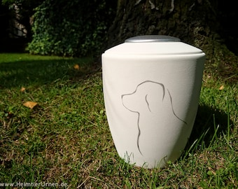 Pet urn | Dog URN in white silhouette, Memorial light with cover | hand painted