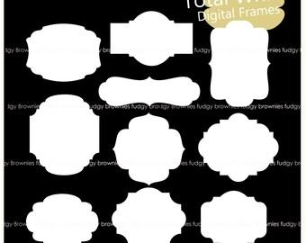 ON SALE white Digital Label Frames,basic white frame, A-233, label, tag, frame clip art, instant download